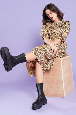 Oversized Collar Leopard Print Midi Dress <br/> Brown