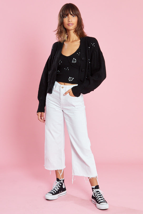 Knitted Cardigan with Celestial Embroidery  <br/> Black