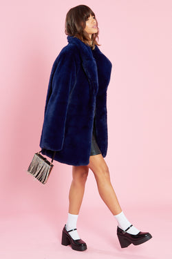 Faux Fur Coat </br> Blue