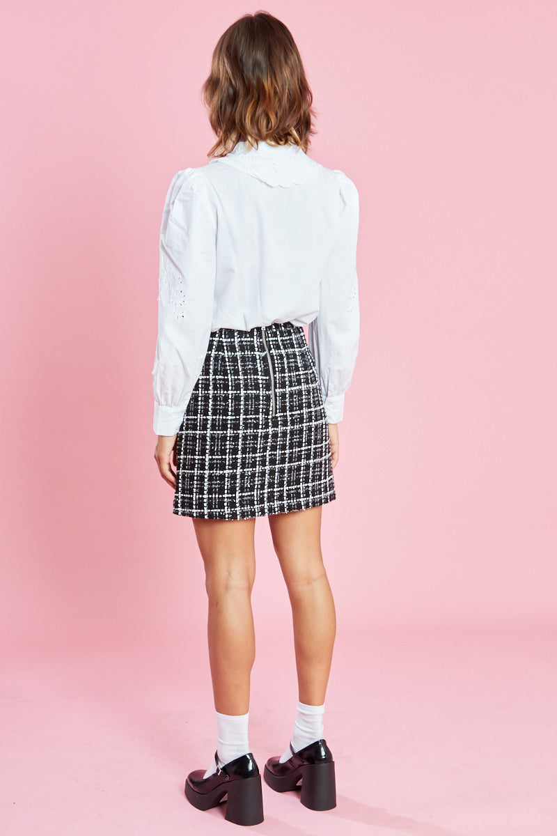 Tweed Mini Skirt <br/> Black