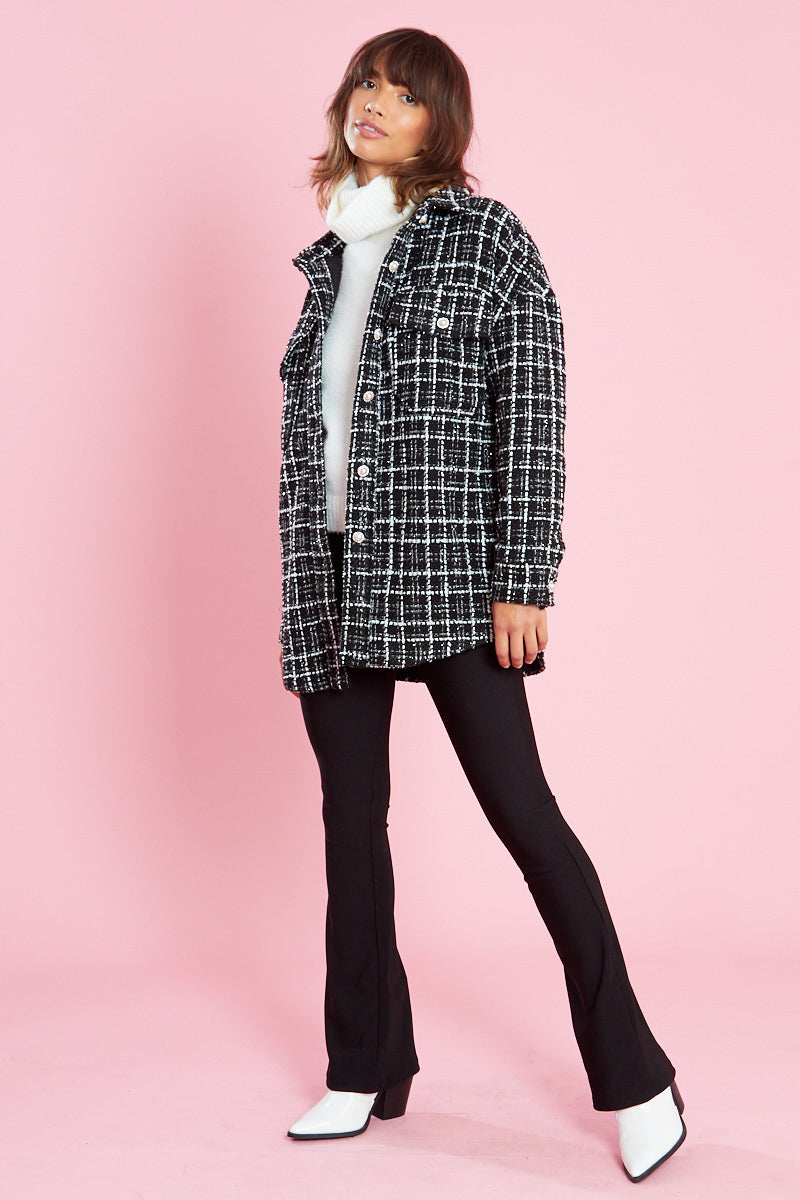 Oversized Tweed Shacket with Embellished Buttons <br/> Black