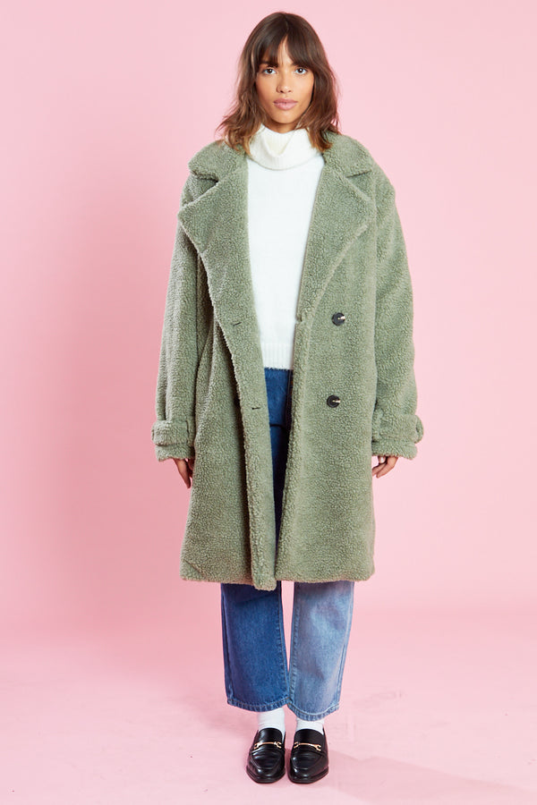 Button Front Teddy Midi Coat <br/> Green