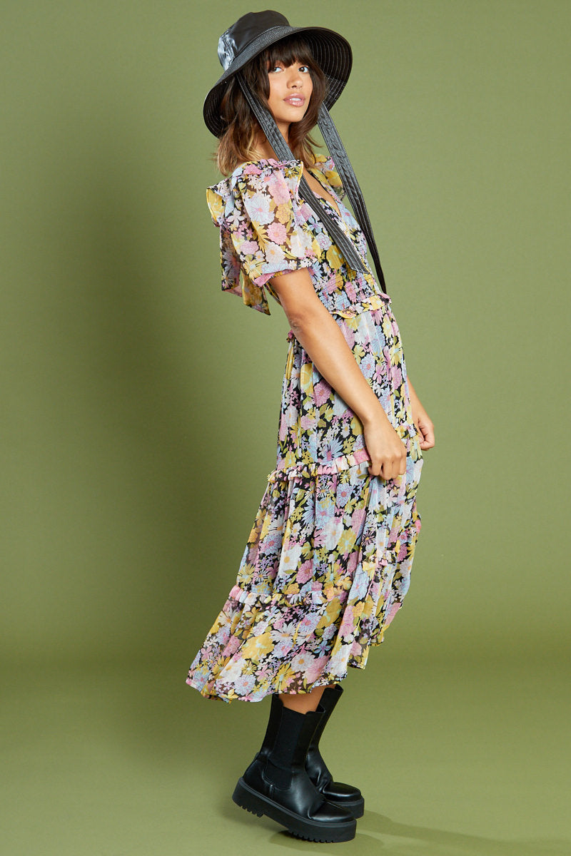Zadie Floral Tiered and Bow Back Midi Dress <br/> Multi