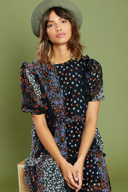 Patchwork Tiered Floral Midi Dress <br/> Multi