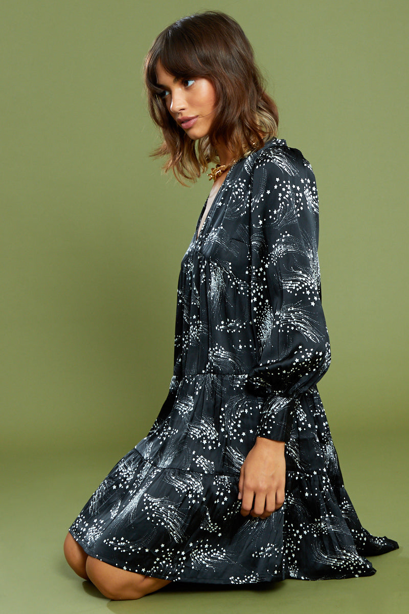 High Neck Constellation Midi Dress <br/> Black