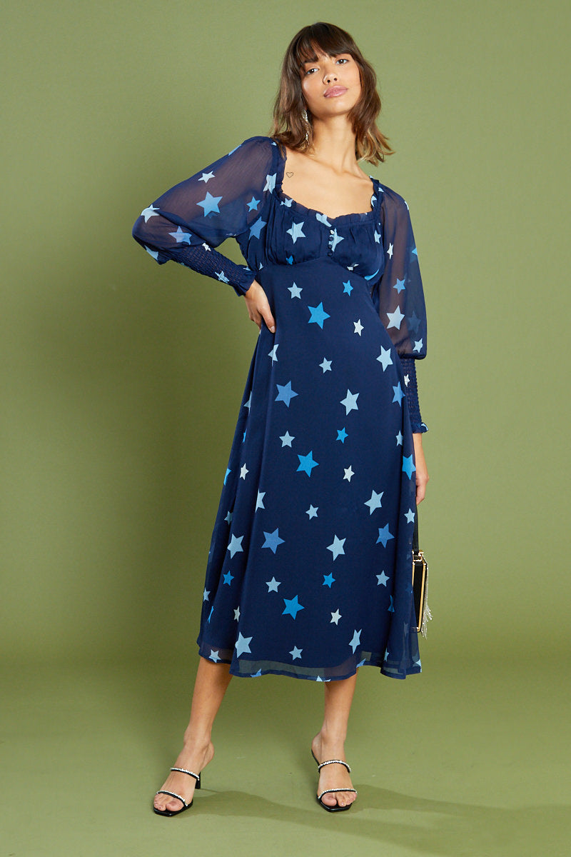 Aurora Star Sweetheart Midi Dress <br/> Blue