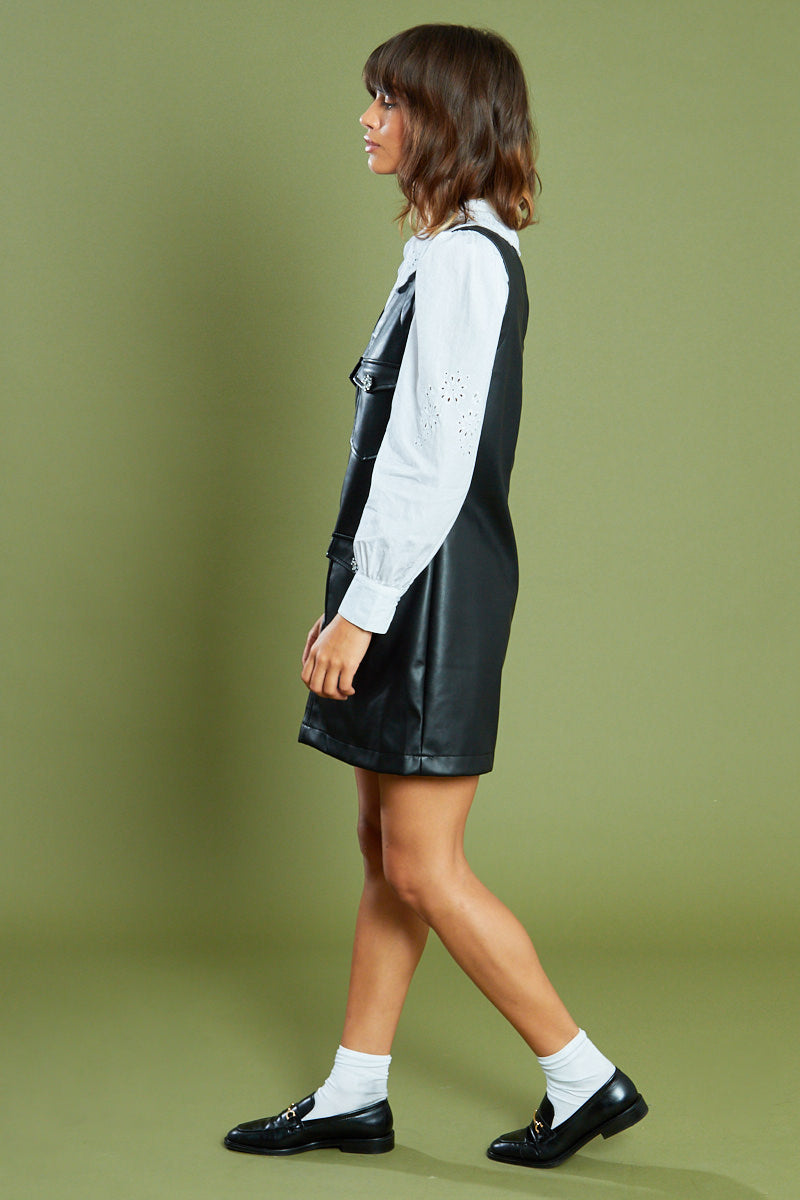PU Pinafore Dress with Crystal Buttons <br/> Black