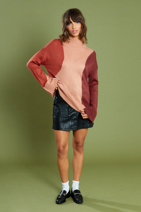 Swirl Colour Block Jumper with Roll Neck <br/> Pink