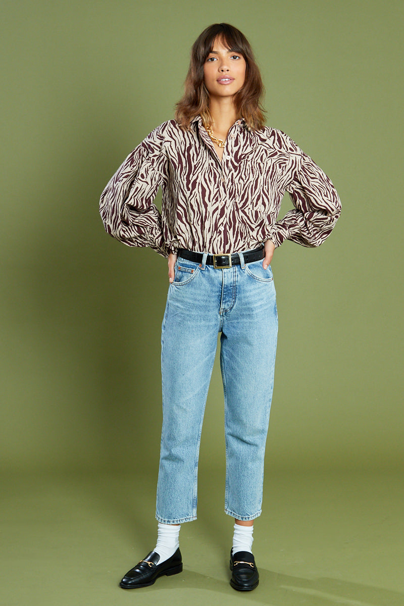 Dreya Animal Square Neck Blouse with Puff Sleeves <br/> Curve