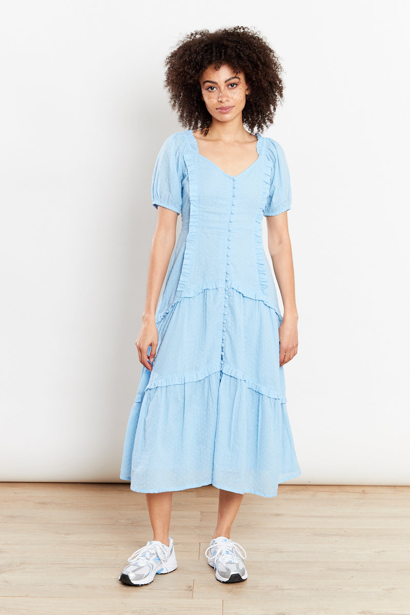 Button Front Ruffle Dobby Midi Dress - Blue
