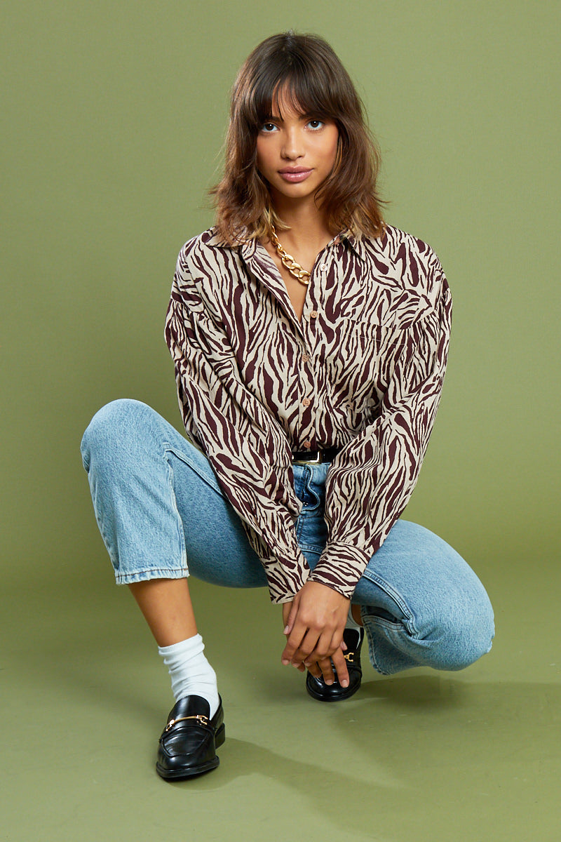 Dreya Animal Square Neck Blouse with Puff Sleeves <br/> Brown