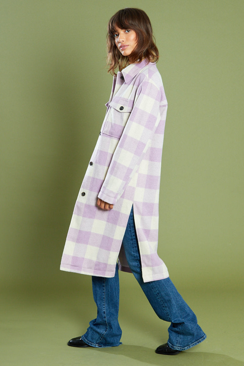 Check Button Front Midi Coat <br/> Purple
