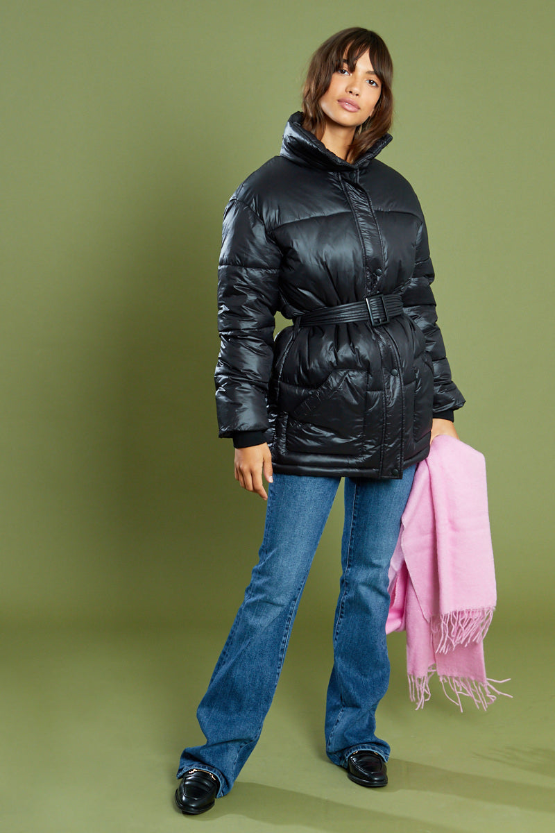 Belted Padded Jacket <br/> Black