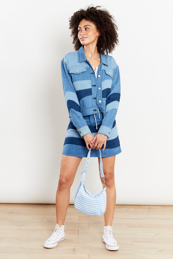 Tonal Patchwork Denim Mini Skirt - Blue