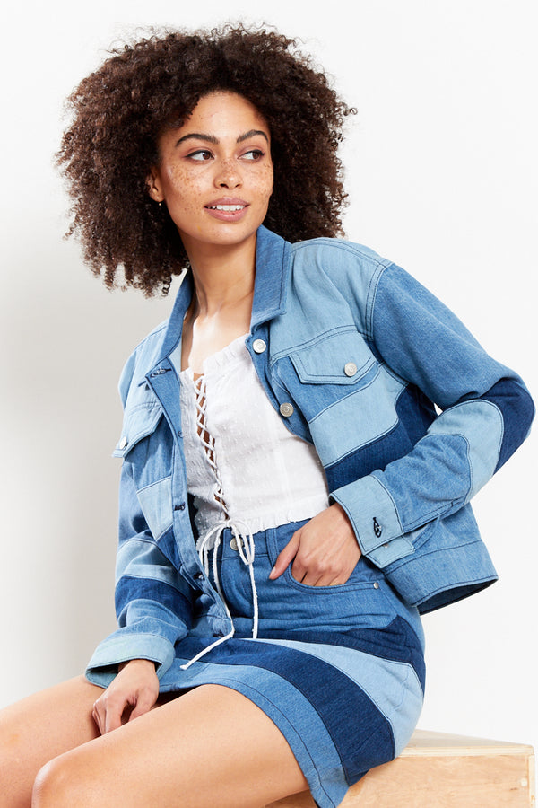 Tonal Patchwork Denim Jacket - Blue