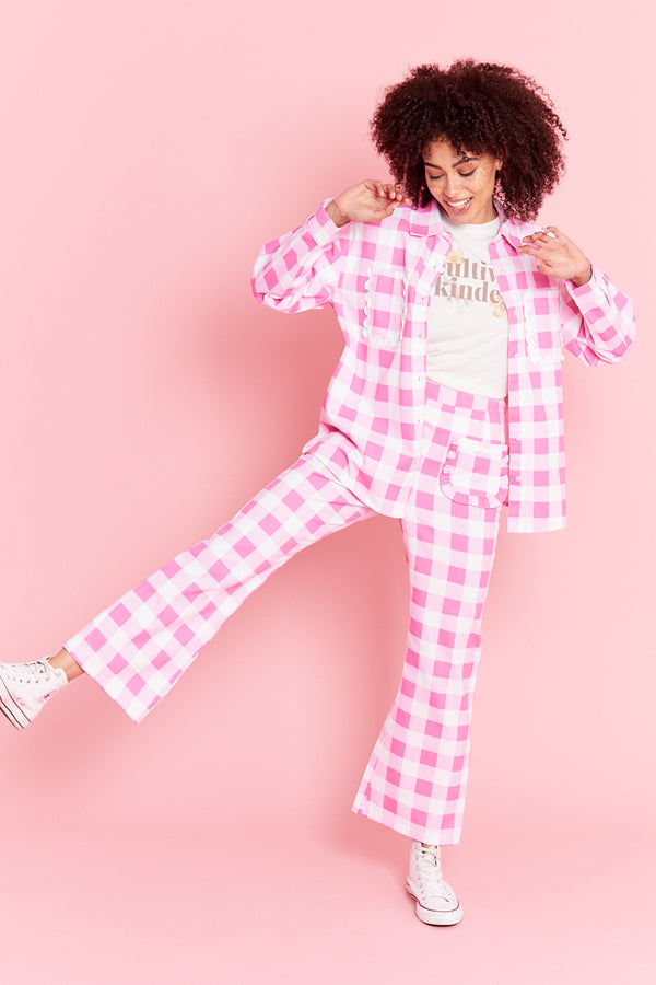 Gingham Kick Flare Trousers  - Pink