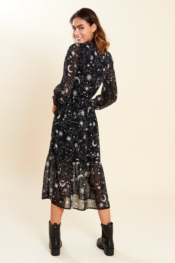 Constellation Print Tie Neck Midaxi Dress </br> Black