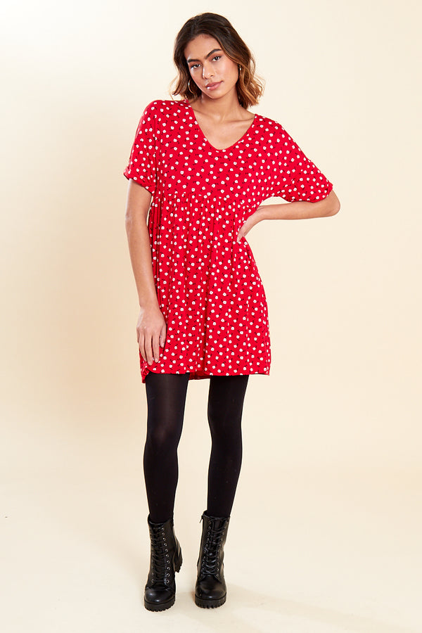 Round Neck Floral Mini Dress </br> Red