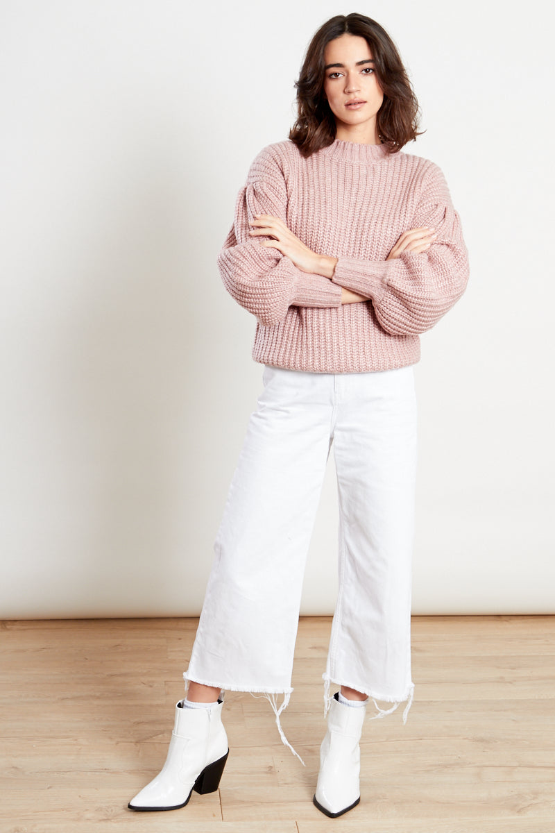 Puff Sleeve Knitted Jumper <br/> Oatmeal