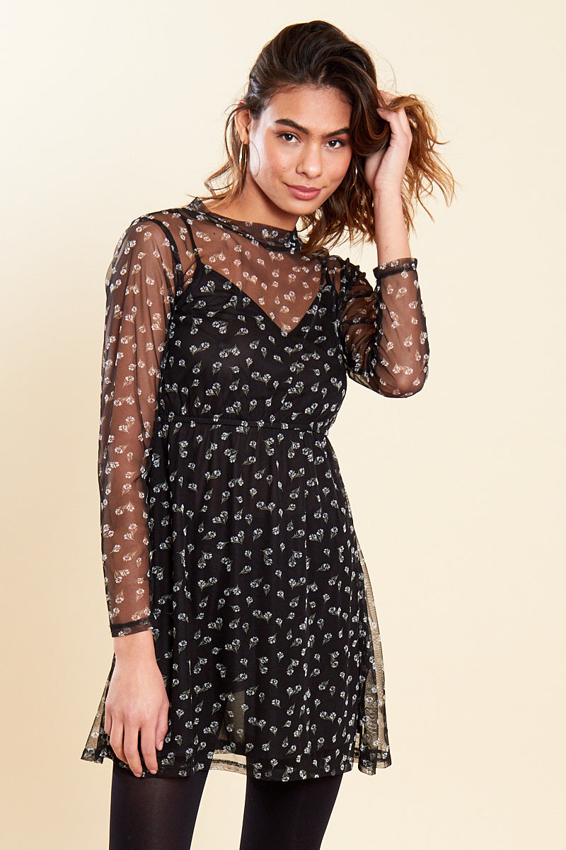 Mesh Floral Mini Tea Dress </br> Black