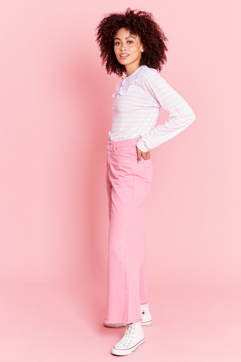 Stripe T Shirt With Frill Collar - Pink