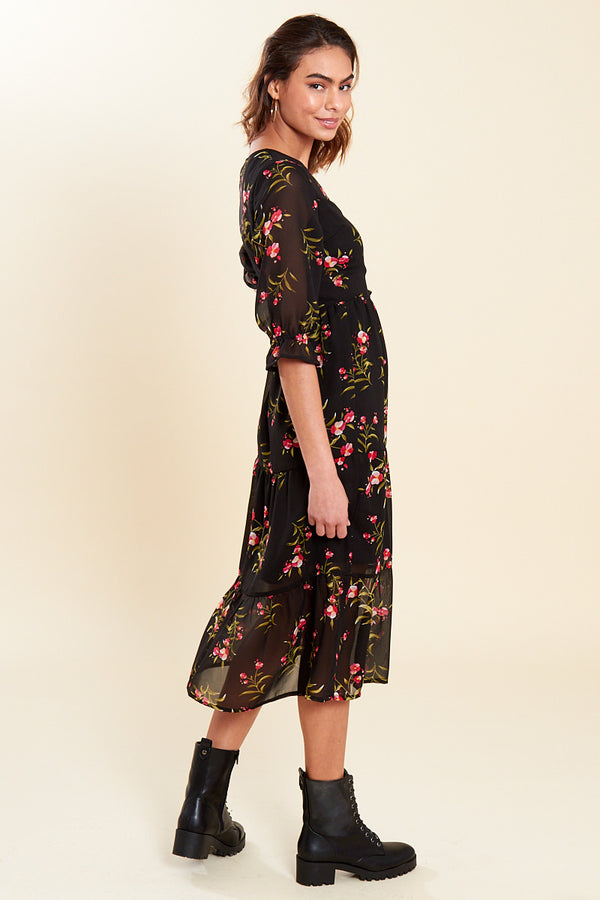 Floral Wrap Tiered Midi Dress </br> Black