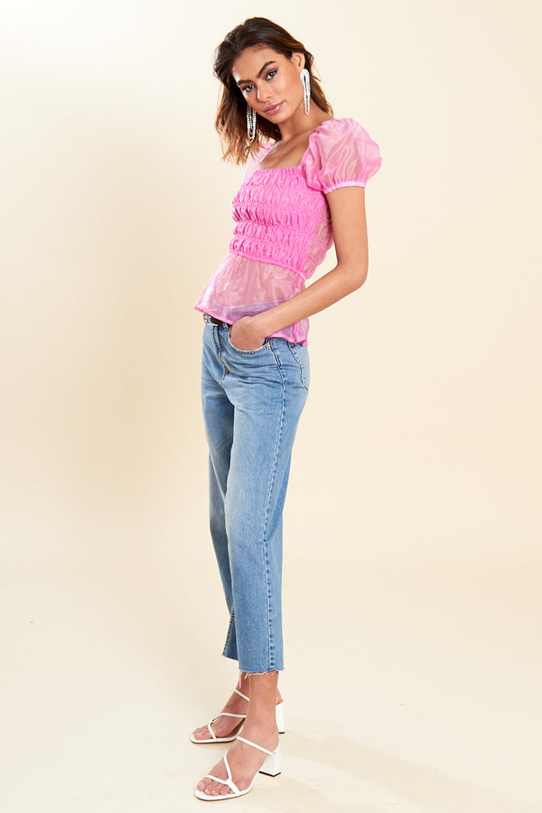 Organza Shirred Crop Top </br> Pink