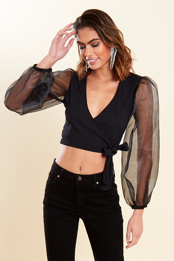 Wrap Crop with Organza Sleeves </br> Black