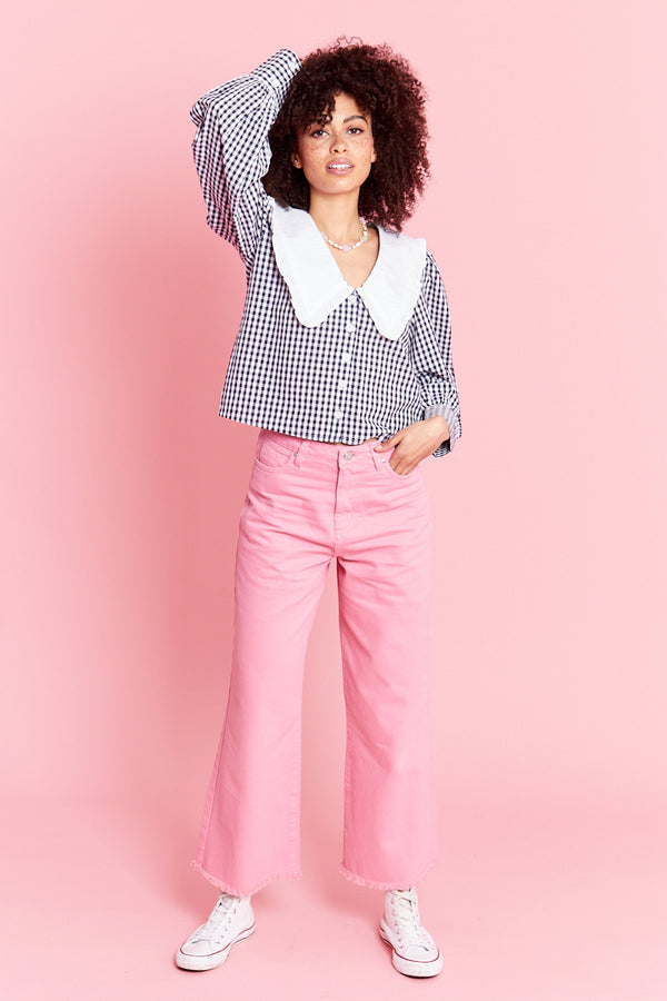 Gingham Blouse With Frill Collar - Blue