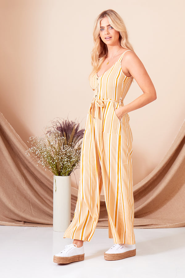 Aria Stripe Button Down Jumpsuit - Yellow
