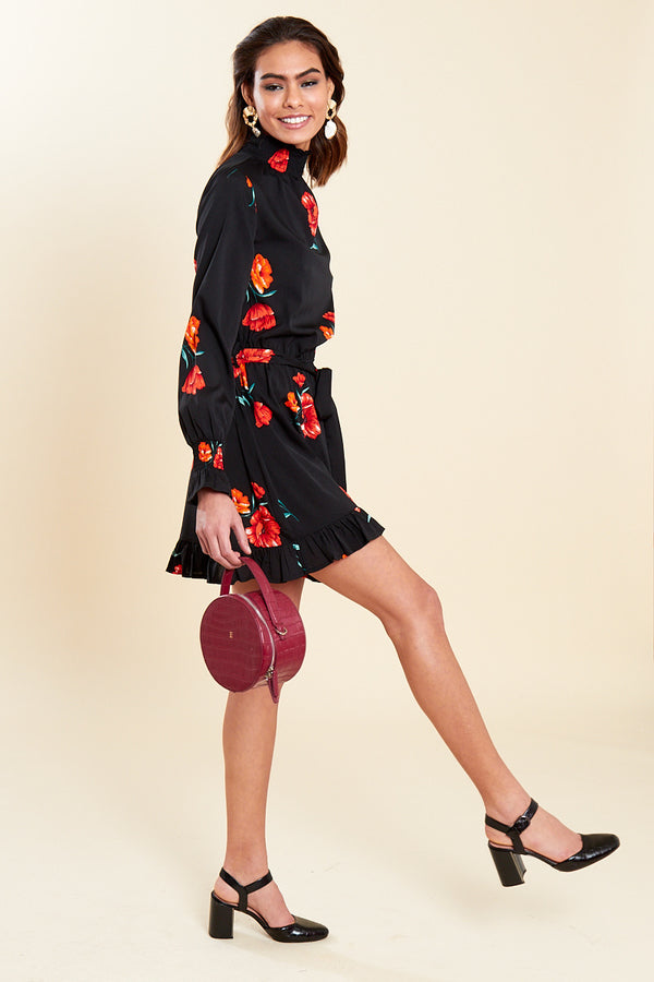 High Neck Floral Print Mini Dress </br> Black