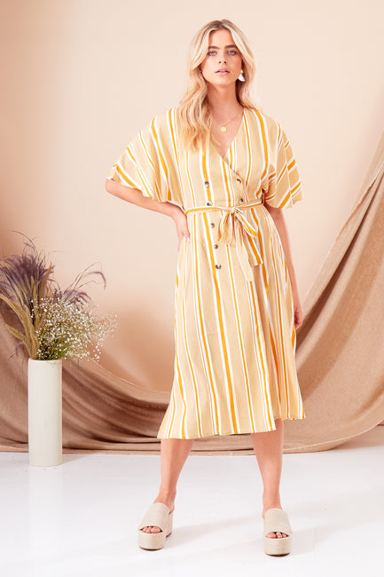 Aria Stripe Double Breasted Midi Dress