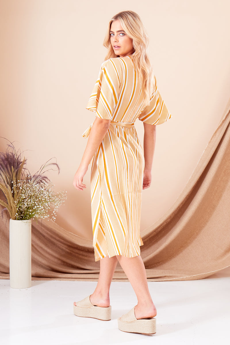 Aria Stripe Double Breasted Midi Dress - Yellow