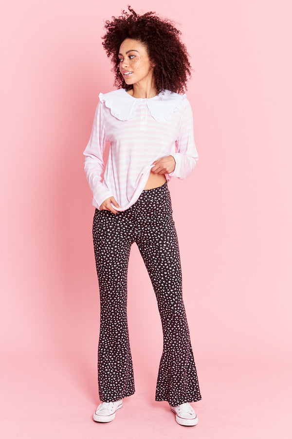 Ditsy Print Jersey Flares - Black