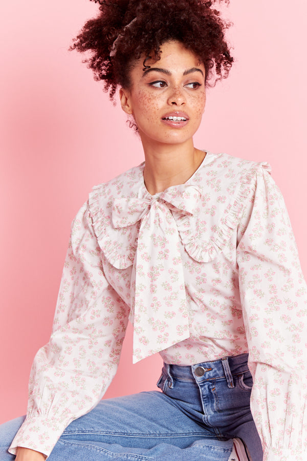 Eleanora Ditsy Floral Pussy Bow Blouse - Cream