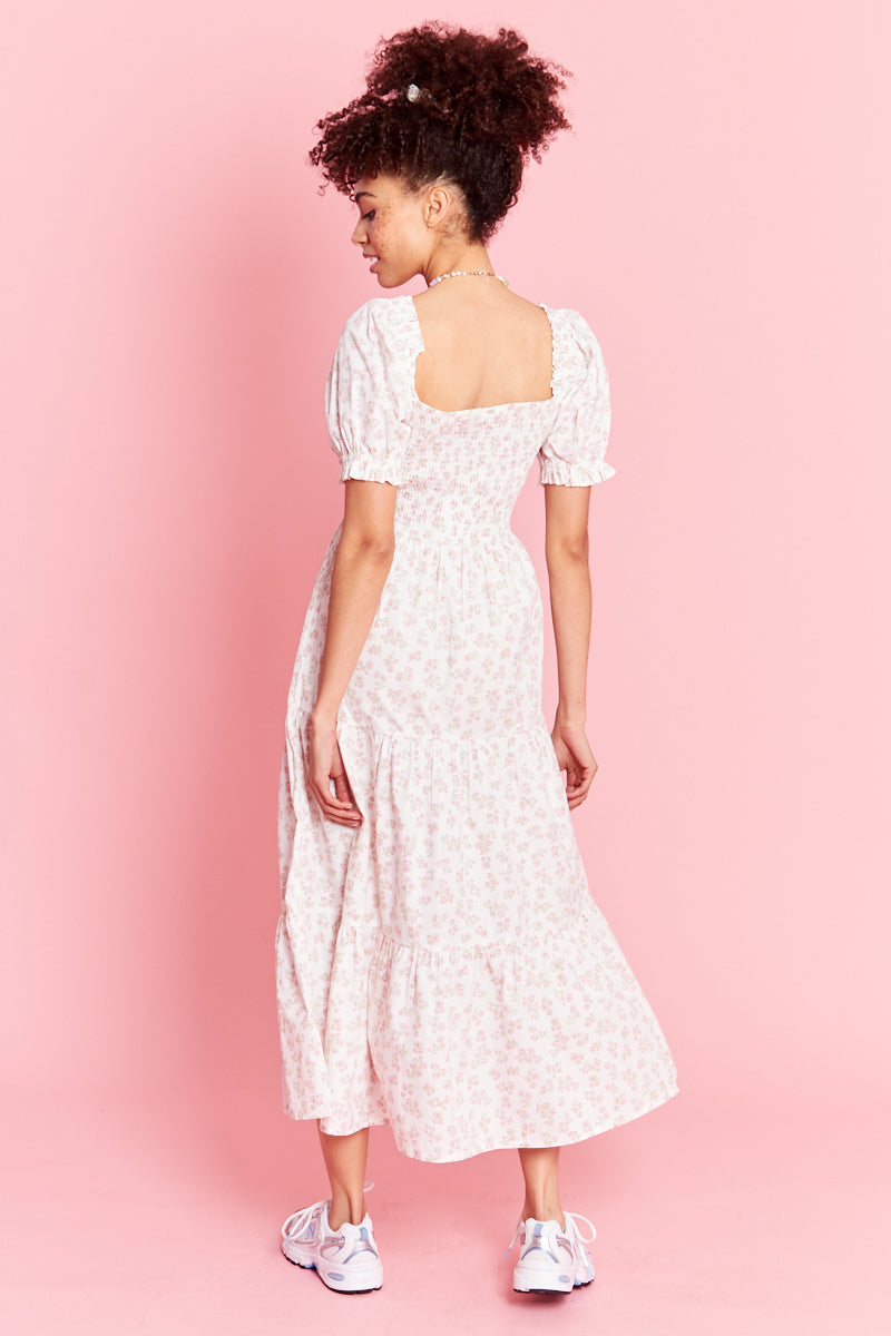 Eleanora Ditsy Floral Midaxi Dress - Cream