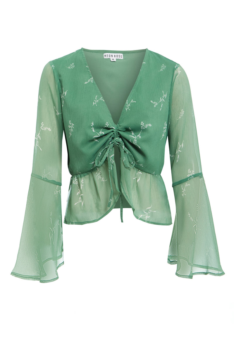 Heather Floral Blouse - Green