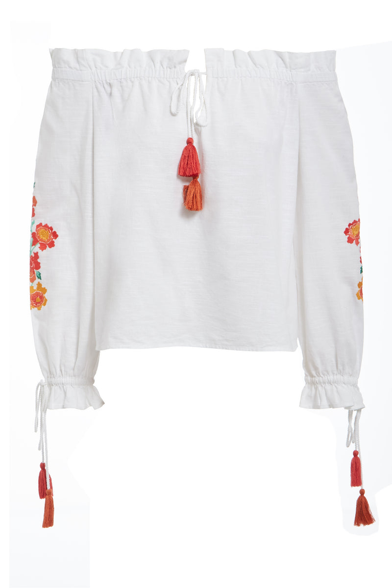 Embroidered Tassel Bardot Top - White