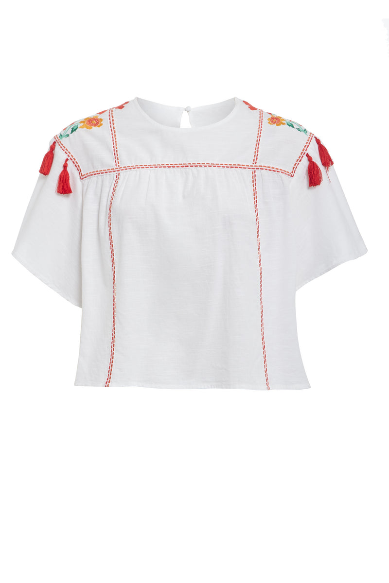 Embroidered Tassel Swing Top - White