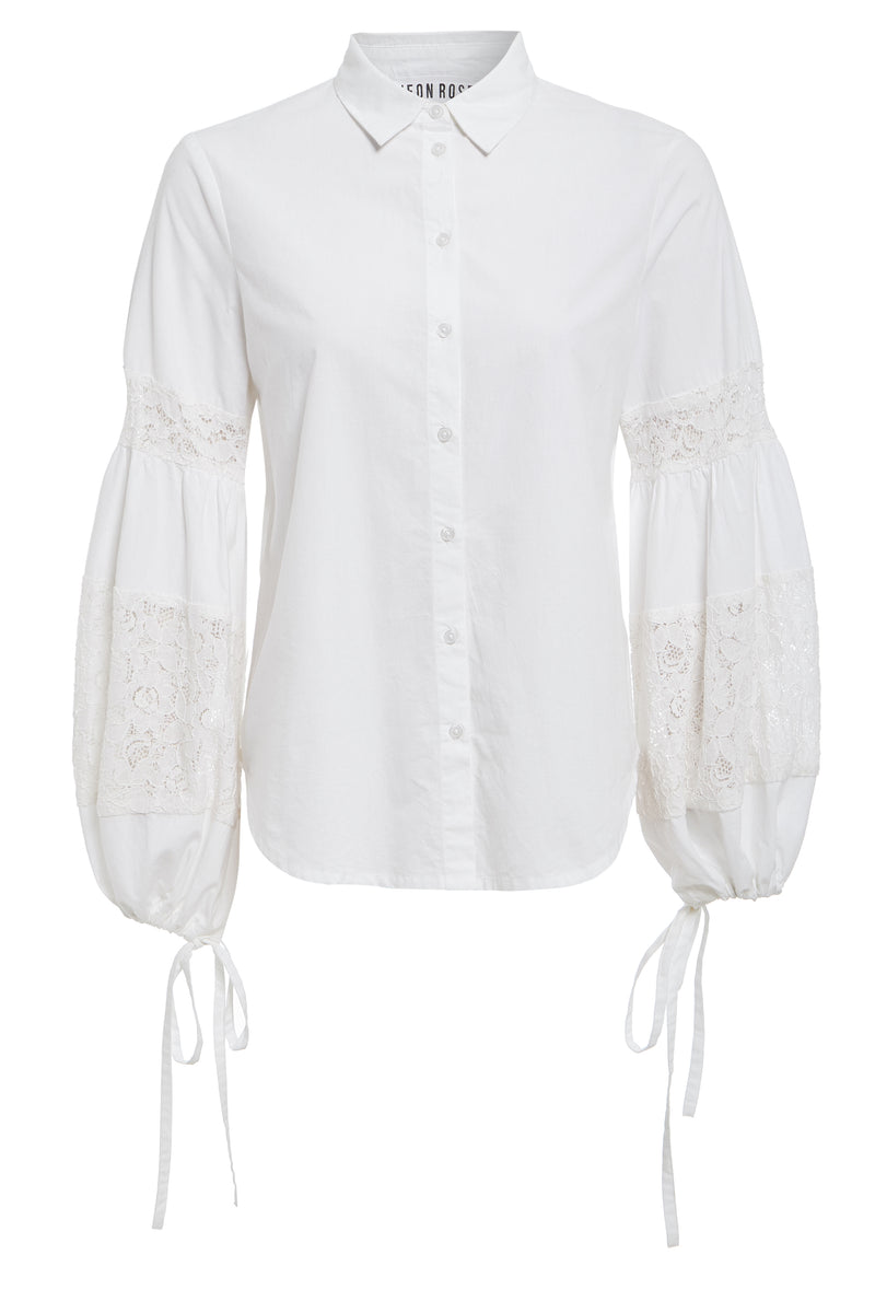 Broderie Balloon Sleeve Shirt - White