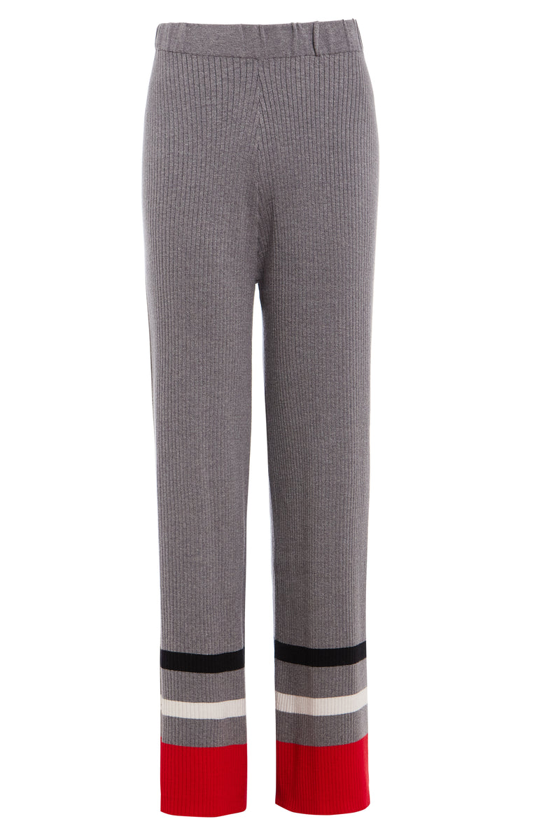 Colour Block Stripe Trousers - Grey