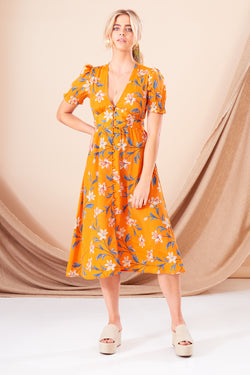 Chloe Floral Button Front Midi Dress - Orange