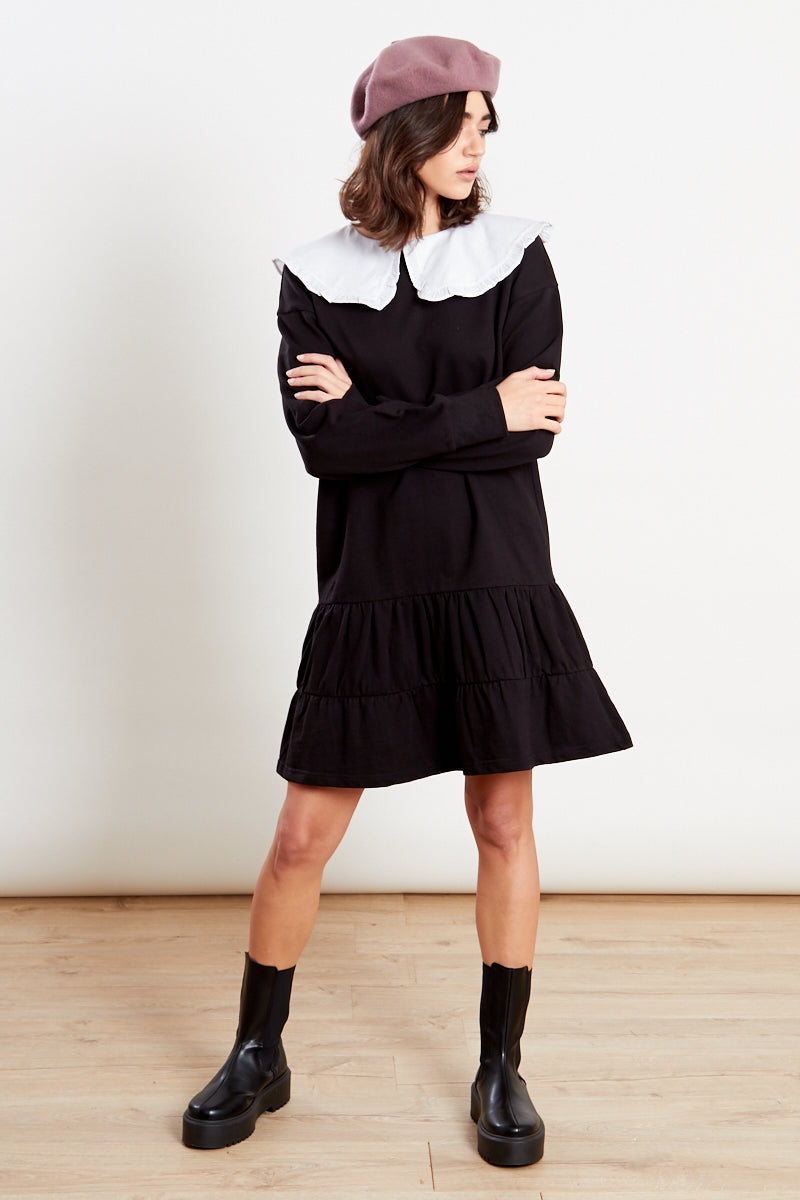 Oversized Collar Sweater Dress  <br/> Black