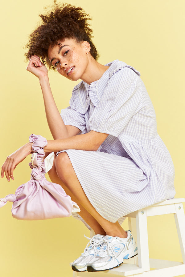 Gingham Smock Mini Dress with Frill Collar  - Lilac