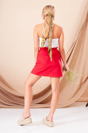 Red Textured Cotton Paperbag Mini Skirt