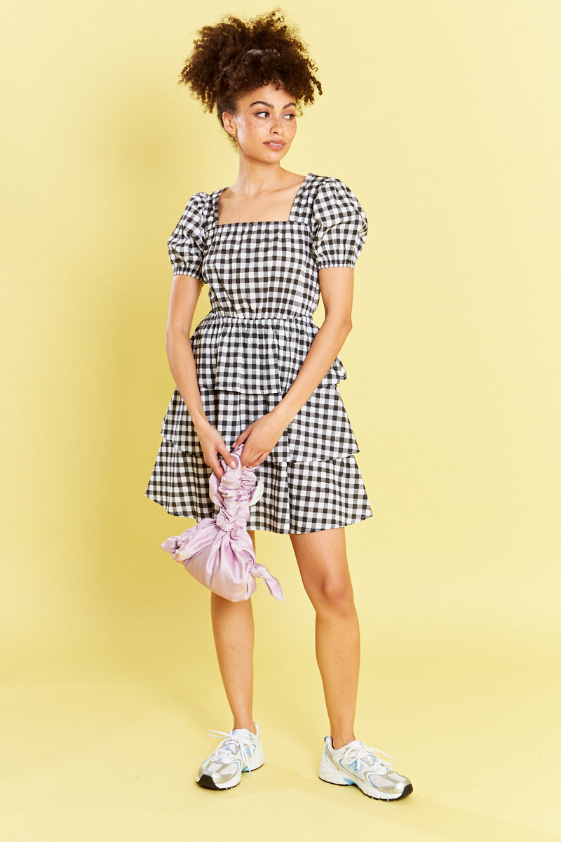 Gingham Mini Dress - Black