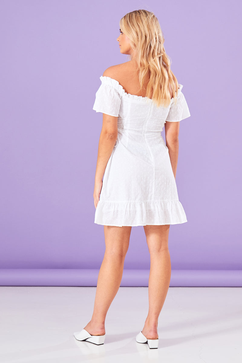 Broderie Lace Up Mini Dress - White
