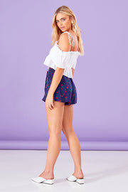 Cherry Print Shirred Detail Shorts