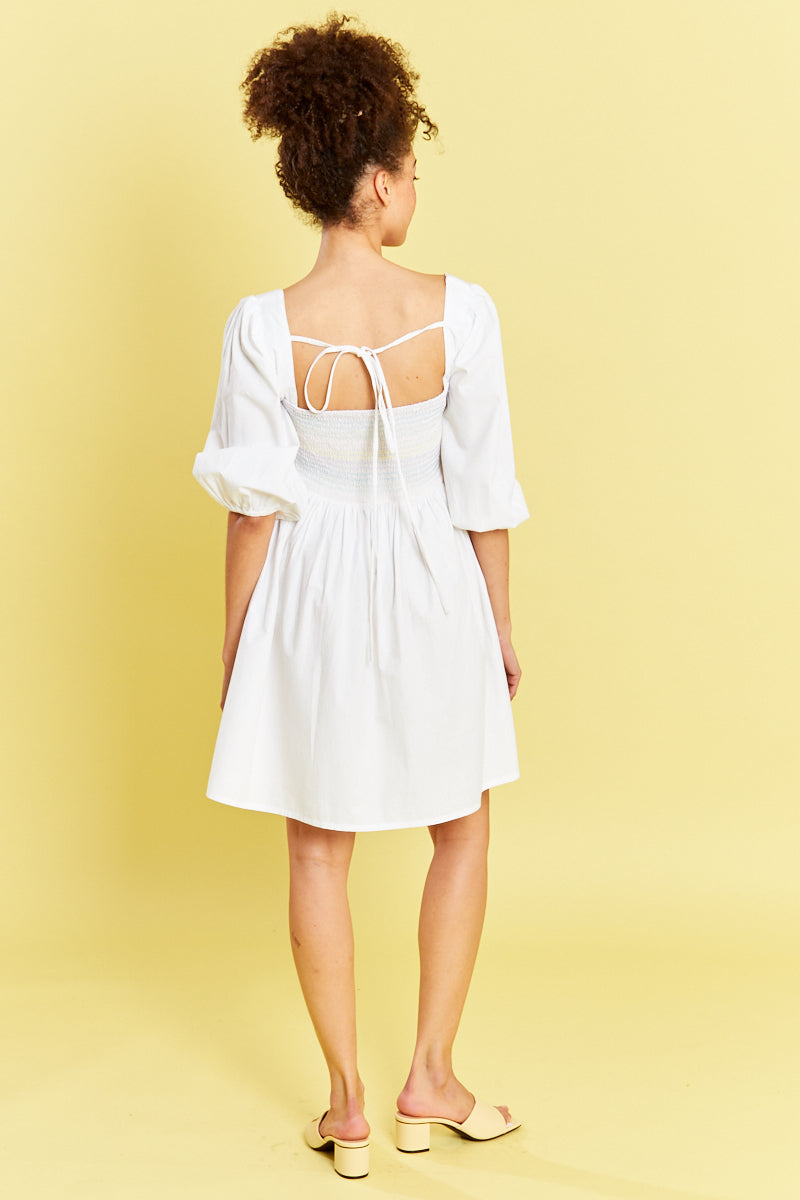 Shirred Mini Dress - White