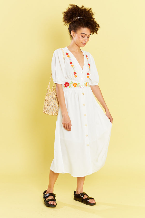 V Neck Midi Dress With Embroidered  - White